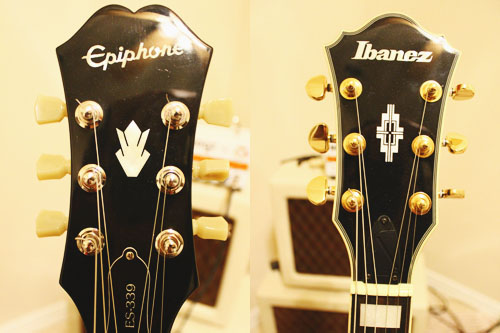 Epiphone 339 v Ibanez AM93 Headstock